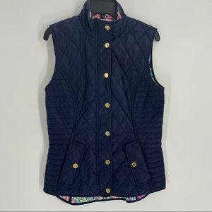 Lilly Pulitzer Getaway Vest-Navy with Hot Spot